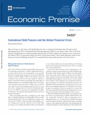 Subnational Debt, Insolvency, And Markets