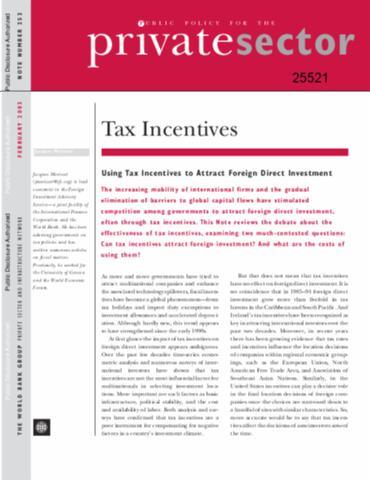 foreign direct investment and tax incentives Morisset, jacques p and pirnia, nede, how tax policy and incentives affect foreign direct investment: a review (november 30, 1999) world bank policy research.