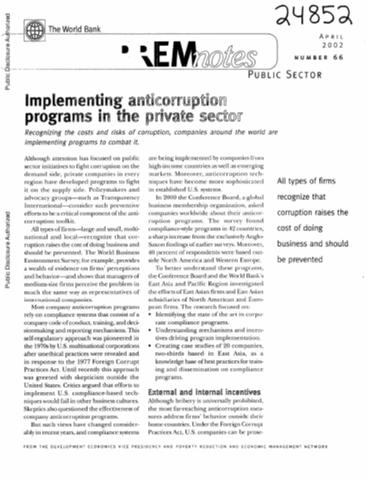 Implementing Anticorruption Programs In The Private Sector