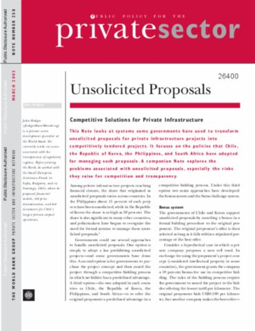 Unsolicited Proposals : The Issues For Private Infrastructure Projects