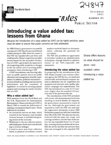 Introducing A Value Added Tax Lessons From Ghana