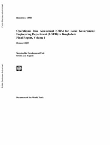 Operational Risk Assessment Ora For Local Government Engineering