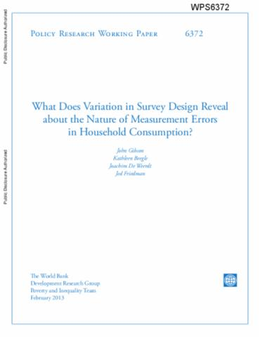 Okr methods of household consumption measurement through for Household survey questionnaire design
