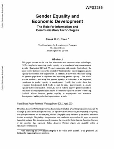 Gender Equality And Economic Development: The Role For Information And  Communication Technologies