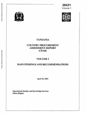 Tanzania : Country Procurement Assessment Report