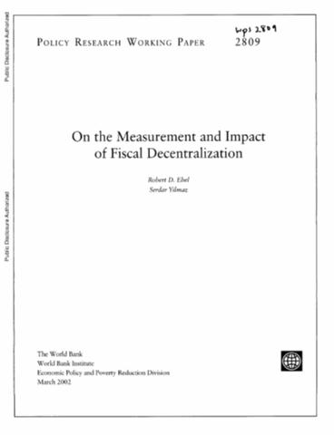 the impact of decentralization in government Welfare state and local government: the impact of decentralization on well-being paolo addis, alessandra coli, and barbara pacini (university of pisa.
