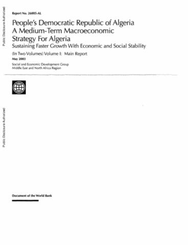 A Medium-Term Macroeconomic Strategy for Algeria