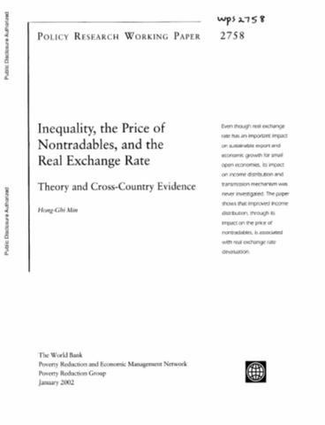 Inequality The Price Of Nontradables And Real Exchange Rate Theory Cross Country Evidence