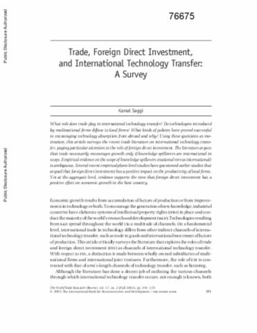 international trade and foreign direct investment Foreign capital, which actually plays an important role in increasing productivity of labor and accumulation of foreign reserve in developing countries to meet the current account deficit , is consist of foreign direct investment (fdi) and foreign portfolio investment(fpi.