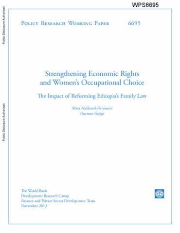 Implementing the Ethiopian national policy for women: institutional and regulatory issues