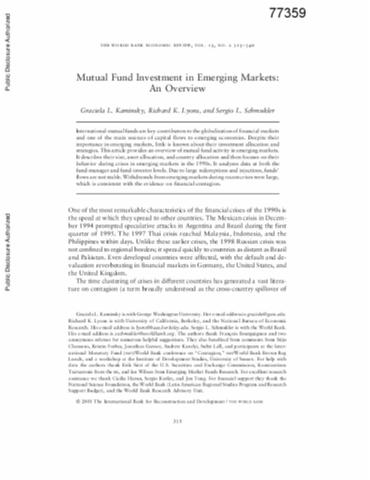 investment in emerging markets+pdf