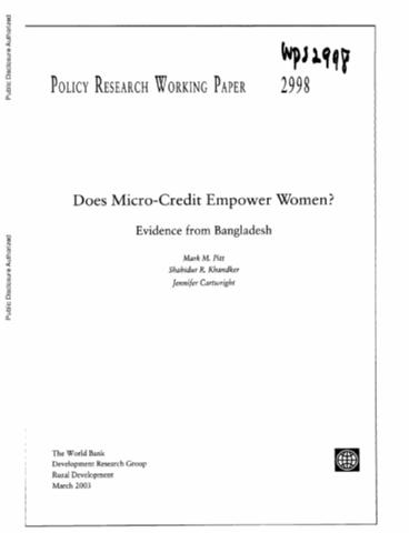 does micro credit empower women evidence from bangladesh