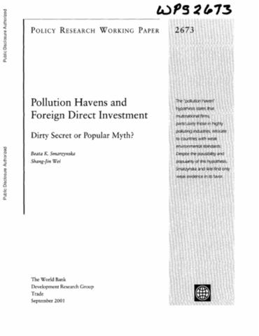 ceate pollution havens essay We will write a custom essay sample on сeate pollution havens specifically for you for only $1638 $139/page order now liberalization helps most countries learn from each other on different measures that are taken to conserve the environment as well as the method and techniques that can be used ion production with less pollution effects.