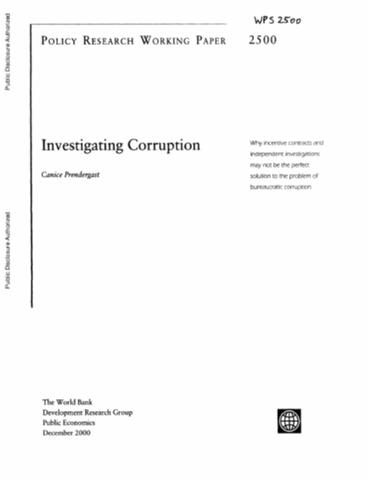 understanding of corruption and integrity Understanding how argentina has begun to counter corruption offers insight for  the path forward for the future of trust and integrity to design corruption-free.