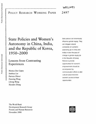 world bank policy research working paper no 4978 The policy research working paper series disseminates the findings of work in progress to recent world bank policy research working papers concerning these.