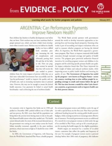Argentina : Can Performance Payments Improve Newborn Health?