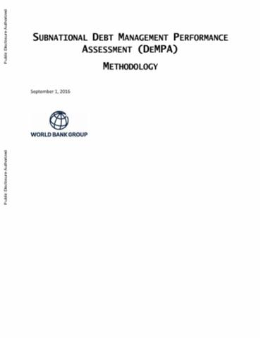 Subnational Debt Management Performance Assessment Methodology