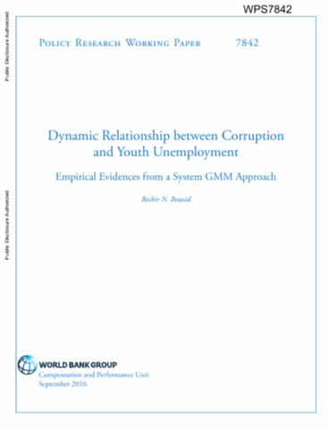 dynamic relationship between corruption and youth unemployment  dynamic relationship between corruption and youth unemployment empirical evidences from a system gmm approach
