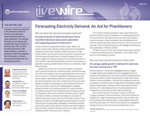 Forecasting Electricity Demand : An Aid for Practitioners