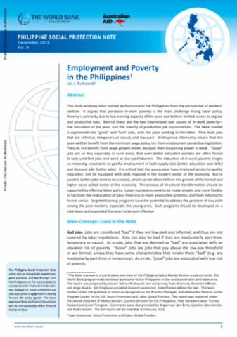 Employment And Poverty In The Philippines