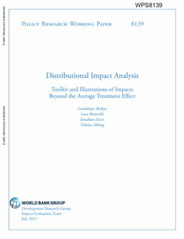 Distributional Impact Analysis  Toolkit And Illustrations Of