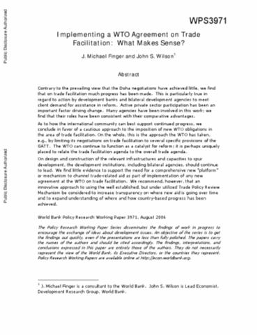 Implementing A Wto Agreement On Trade Facilitation What Makes Sense