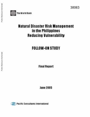 natural disaster risk management in the reducing  natural disaster risk management in the reducing vulnerability