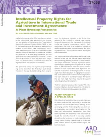 Intellectual Property Rights For Agriculture In International