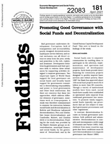 decentralization good bad Good nor bad it is a means to an end decentralization entails the transfer of political, fiscal, and decentralization: rethinking government 109 ethiopia and bosnia and herzegovina illustrate the tension be.