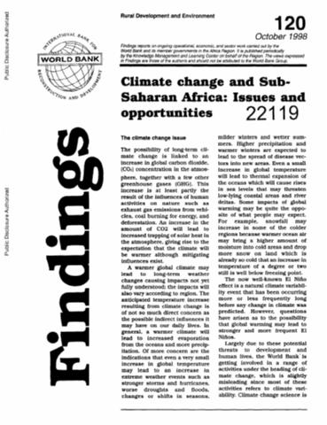 Climate Change and Sub-Saharan Africa : Issues and